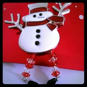 Snowman Pin with Beaded Legs New